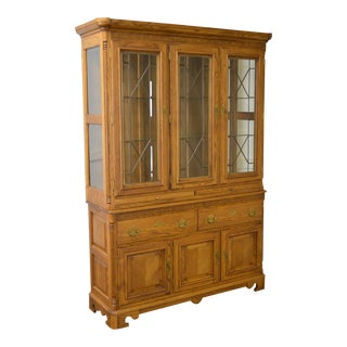 Richardson Bros Solid Oak Leaded Glass China Cabinet
