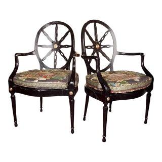 Napoleon Style Ebonized Armchairs - A Pair
