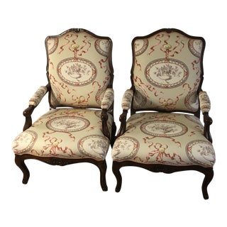 Custom Holly Hunt French Country Upholstered Arm Chairs - A Pair