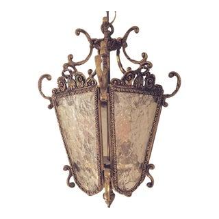 Vintage Brass & Glass Lantern Light Fixture