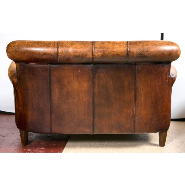 Vintage French Distressed Art Deco Leather Sofa - Image 9 of 9
