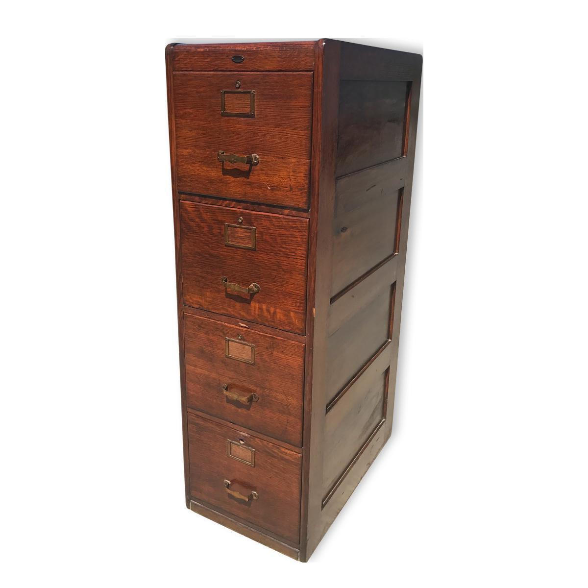 Antique Mission Oak 4 Drawer Office Library File Cabinet
