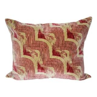 """Luigi Bevilacqua of Milan Art Deco Cascad"""" Rosey Pink Velvet Pillow"""
