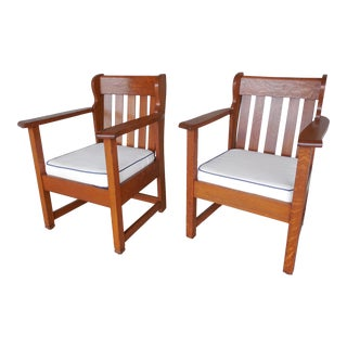 Stickley Brothers Mission Oak Arts & Crafts Chairs - A Pair