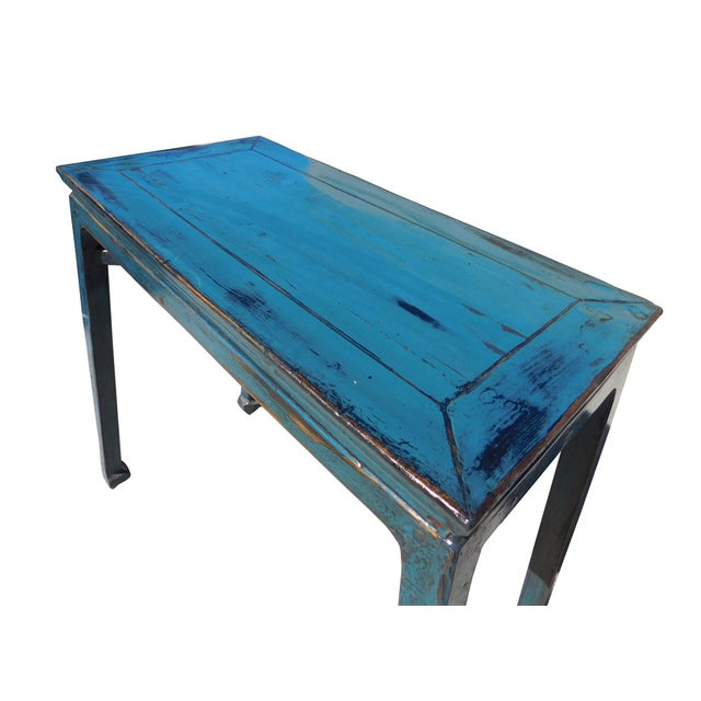 Distressed Blue Coffee Table: Chinese Distressed Blue Lacquer Side Table