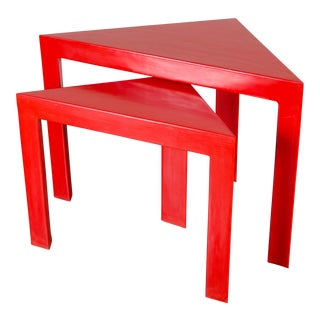 Red Lacquer Corner Nesting Table