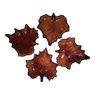 Glass Fall Leaf Dishes- Set of 4