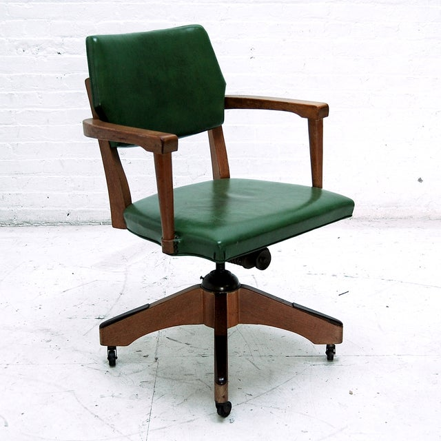 Mid Century Swivel Desk Chair in Green - Image 3 of 6