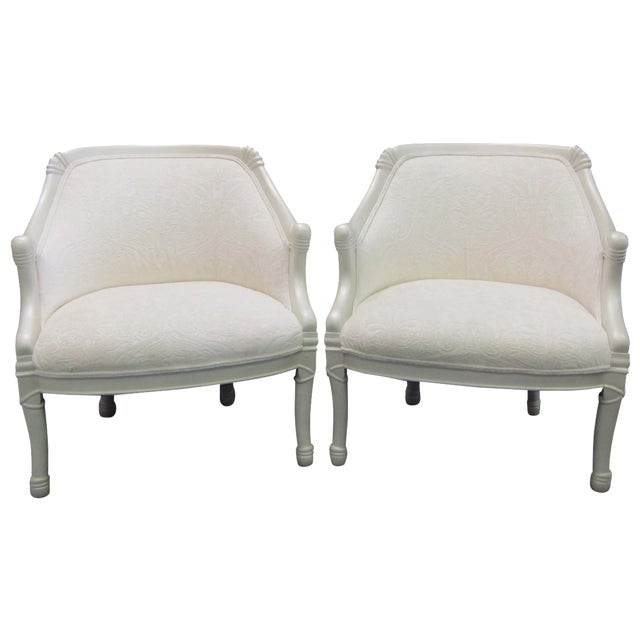 Vintage Pearl Damask Chairs - A Pair - Image 1 of 10