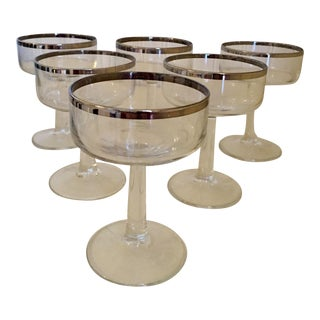 Silver Rim Champagne Glasses - Set of 6