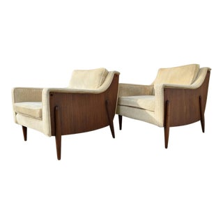 Mid-Century Modern Lounge Chairs & Ottoman - Pair