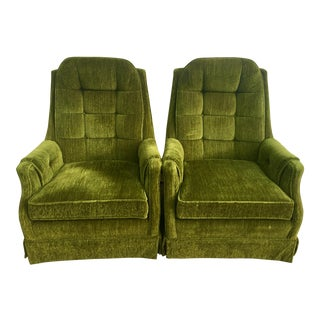 Mastercraft Green Mid-Century Modern Rocking Lounge Chairs - A Pair