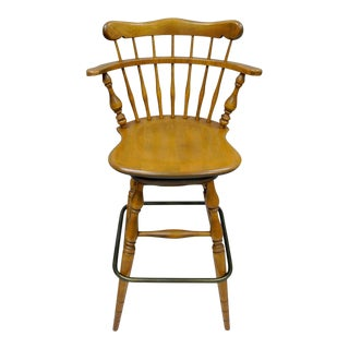 Ethan Allen Heirloom Nutmeg Maple Birch Wood Swivel Bar Chair