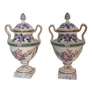 French Faience Potpourri Urns - A Pair