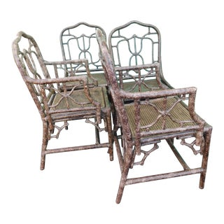 Vintage Robb & Stucky Tortoise Chippendale Chairs - Set of 4