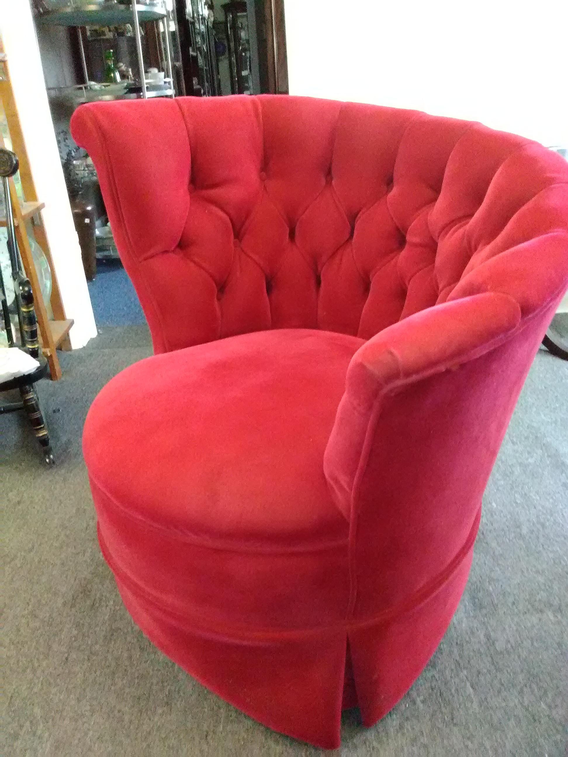 1940's asymetrical shell back tufted red velvet barrel chair
