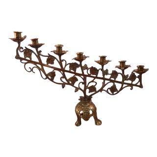 Brass Seven Light Ivy Vine Design Candle Holder