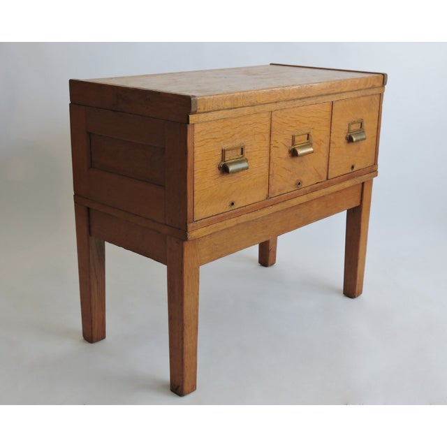 Tiger Oak Filing Cabinet Library Table Circa 1919 - Image 2 of 5