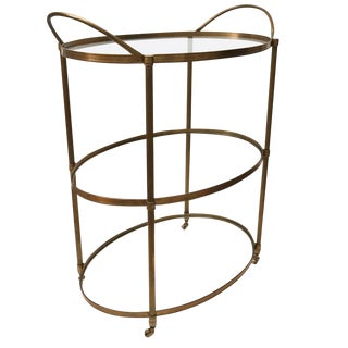 Mid-Century Modern Style, Three-Tier Oval Brass Bar Cart with Glass Shelves
