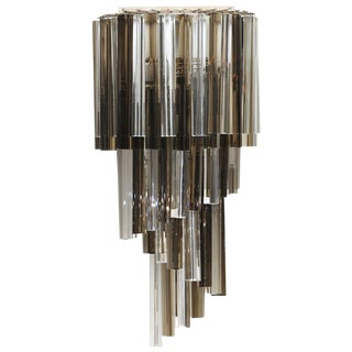 Venini Smoked and Clear Glass Prism Wall Sconce