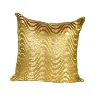 Green Wave Silk Brocade 26x26 Pillow