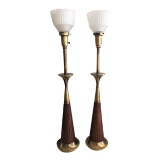 Rembrandt Brass & Wood Torchiere Table Lamps- A Pair