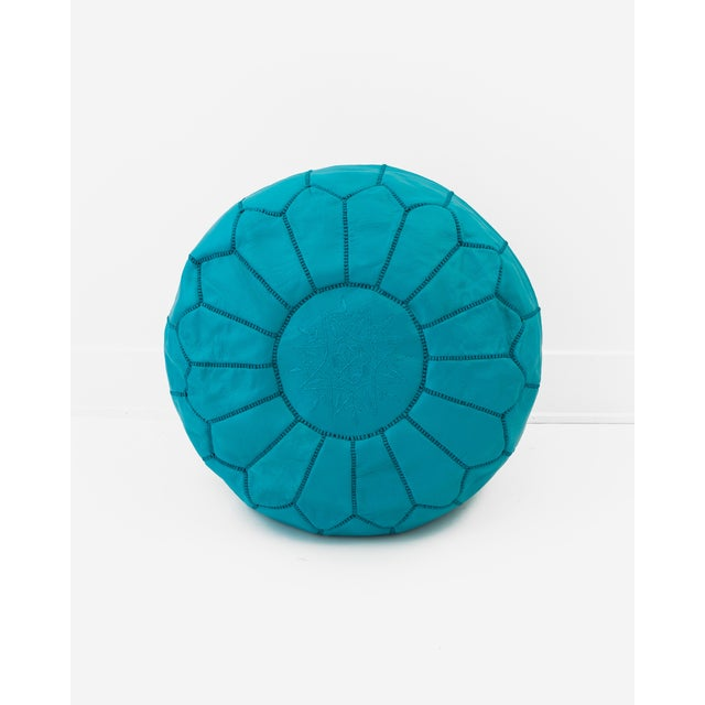 Image of Teal Blue Moroccan Leather Ottoman
