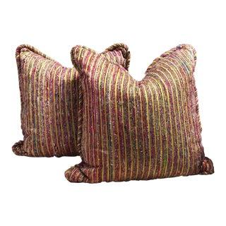Gold Striped Pillows - A Pair
