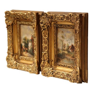 Gilt Framed French Oil Paintings - A Pair