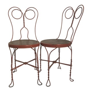Vintage Red Painted Ice Cream Parlor Chairs - A Pair