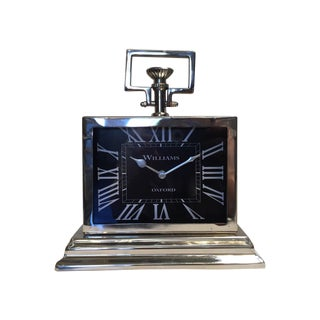 Black Rectangular Chrome Mantle Clock