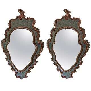 Antique Rococo Wall/Console Mirrors - a Pair