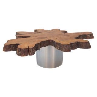 Live Edge Cypress Wood Slab Coffee Table