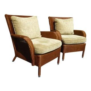 """Vintage """"Janus Et Cie"""" Beige Floral Accent Chairs - A Pair"""