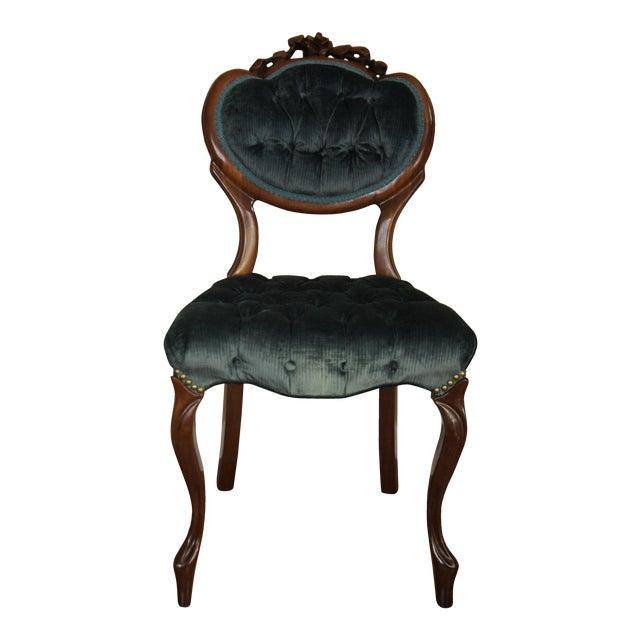 Blue-Green Tufted Velvet Side Chair - Image 1 of 11