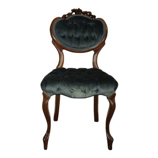 Blue-Green Tufted Velvet Side Chair