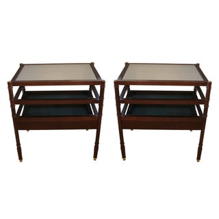 Tri-Level Mirrored Side Tables - A Pair