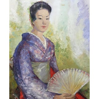 1950's Oil Painting Japanese Woman With Fan