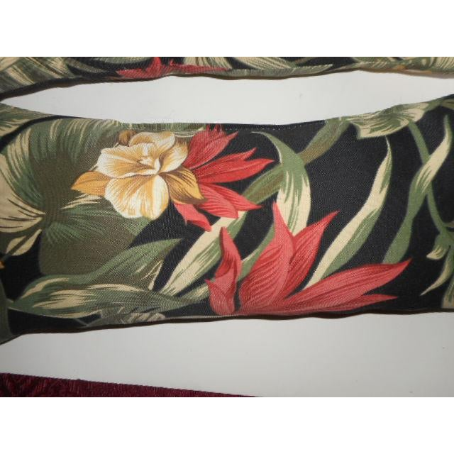 Tropical Palm Leaf & Orchid Pillows - a Pair - Image 5 of 8