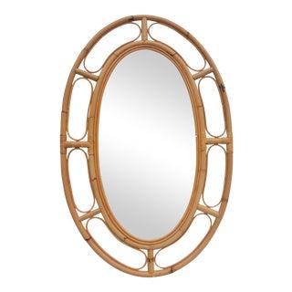Franco Albini Style Oval Rattan Wall Mirror