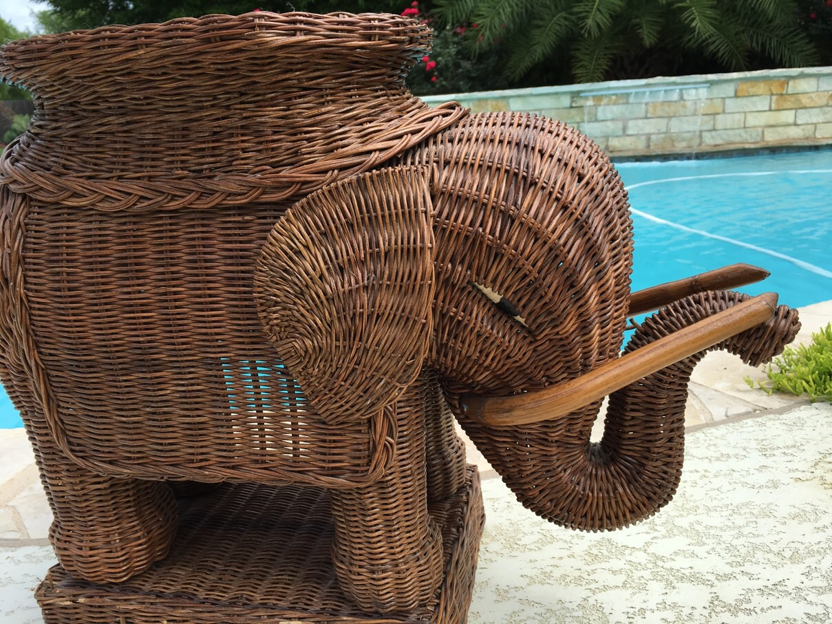 Vintage Wicker Rattan Elephant Plant Stand Table   Image 4 Of 6