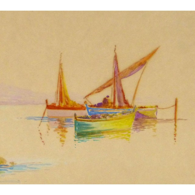 Original Rainbow Harbor Painting, C. 1940 - Image 3 of 4