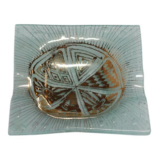 Sea Green and Gold Little Ashtray or Catchall