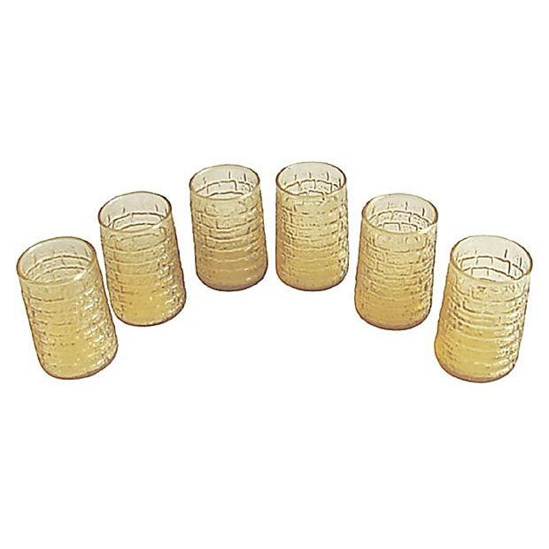 Image of Mid-Century Faux Bamboo Amber Glasses - S/6