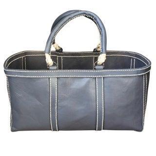 Blue Leather Basket