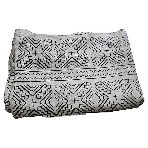 Lg Black & White Mali Mud Cloth Textile - Image 3 of 7