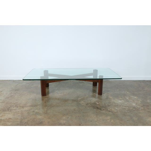 Solid Walnut Base Coffee Table With Glass Top