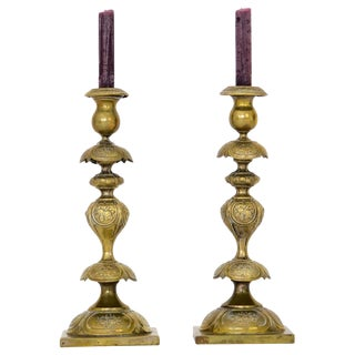 Antique Brass Candlesticks, A Pair