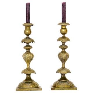 Antique Brass Candlesticks, A Pair