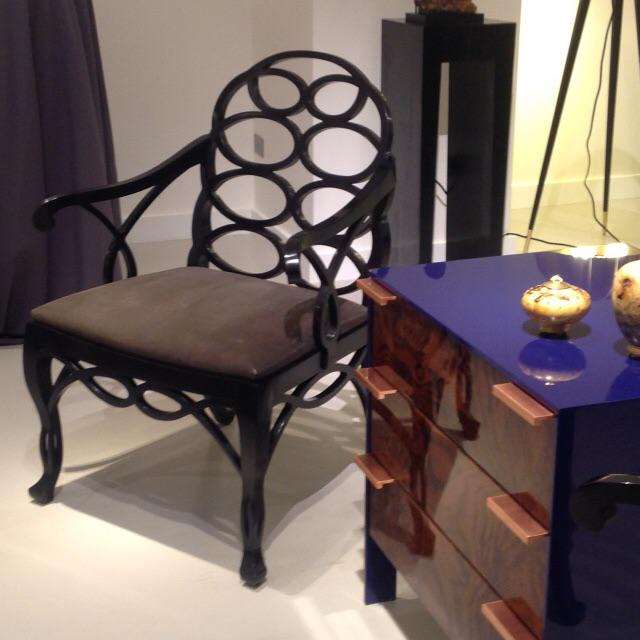 "Truex American Furniture ""Loop Chair"" Ebony Leather Available as a Pair* - Image 3 of 4"